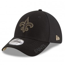 Mens New Era New Orleans Saints Black 2018 NFL Training Camp Primary 39THIRTY Flex Hat 3060019