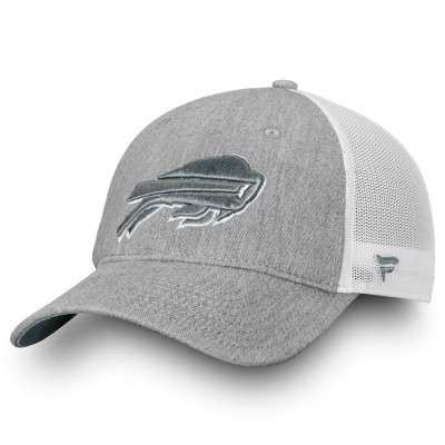 Men's Buffalo Bills NFL Pro Line by Fanatics Branded Heathered Gray/White Lux Slate Trucker Adjustable Hat 2998589