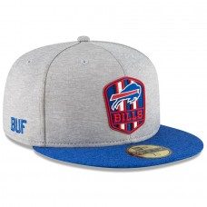 Men's Buffalo Bills New Era Heather Gray/Royal 2018 NFL Sideline Road Official 59FIFTY Fitted Hat 3058411