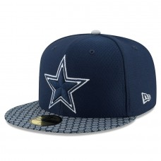 Men's Dallas Cowboys New Era Navy 2017 Sideline Official 59FIFTY Fitted Hat 2695184