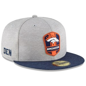 Men's Denver Broncos New Era Heather Gray/Navy 2018 NFL Sideline Road Official 59FIFTY Fitted Hat 3058406