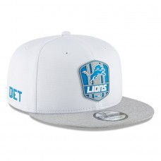 Men's Detroit Lions New Era White/Heather Gray 2018 NFL Sideline Road Official 9FIFTY Snapback Adjustable Hat 3058591