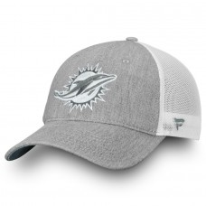 Men's Miami Dolphins NFL Pro Line by Fanatics Branded Heathered Gray/White Lux Slate Trucker Adjustable Hat 2998593