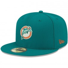 Men's Miami Dolphins New Era Aqua Omaha Throwback 59FIFTY Fitted Hat 2838908