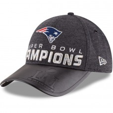 Men's New England Patriots New Era Heathered Black Super Bowl LI Champions Trophy Collection Locker Room 9FORTY Adjustable Hat 2692262