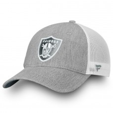 Men's Oakland Raiders NFL Pro Line by Fanatics Branded Heathered Gray/White Lux Slate Trucker Adjustable Hat 2998602