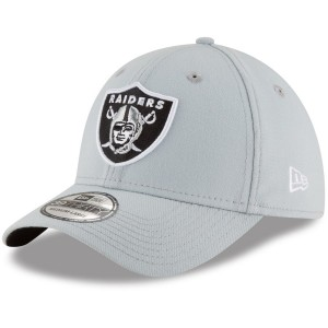Men's Oakland Raiders New Era Gray Team Classic 39THIRTY Flex Hat 2485418