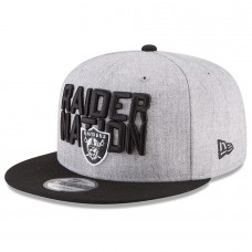 Men's Oakland Raiders New Era Heather Gray/Black 2018 NFL Draft Official On-Stage 9FIFTY Snapback Adjustable Hat 2979510
