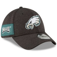 Men's Philadelphia Eagles New Era Black 2018 NFL Sideline Home Official 39THIRTY Flex Hat 3058202