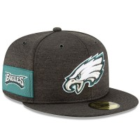 Men's Philadelphia Eagles New Era Black 2018 NFL Sideline Home Official 59FIFTY Fitted Hat 3058345