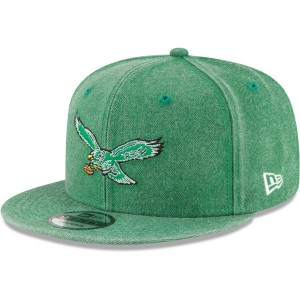 Men's Philadelphia Eagles New Era Kelly Green Historic Heathered Rugged 9FIFTY Adjustable Snapback Hat 3054487
