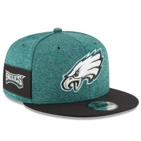 Men's Philadelphia Eagles New Era Midnight Green/Black 2018 NFL Sideline Home Official 9FIFTY Snapback Adjustable Hat 3058537