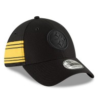 Men's Pittsburgh Steelers New Era Black 2018 NFL Sideline Color Rush Official 39THIRTY Flex Hat 3062621