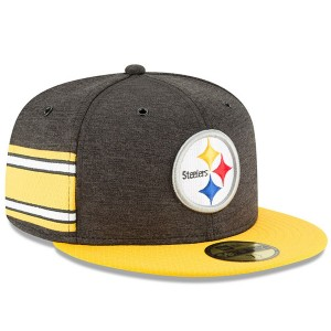 Men's Pittsburgh Steelers New Era Black/Gold 2018 NFL Sideline Home Official 59FIFTY Fitted Hat 3058343