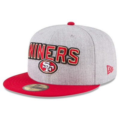 Men's San Francisco 49ers New Era Heather Gray/Scarlet 2018 NFL Draft Official On-Stage 59FIFTY Fitted Hat 2979359