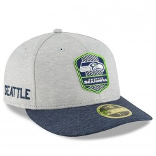 Men's Seattle Seahawks New Era Heather Gray/Navy 2018 NFL Sideline Road Low Profile 59FIFTY Fitted Hat 3058520