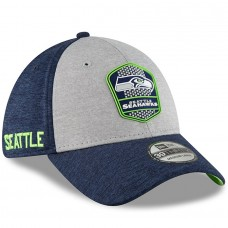 Men's Seattle Seahawks New Era Heather Gray/Navy 2018 NFL Sideline Road Official 39THIRTY Flex Hat 3058246