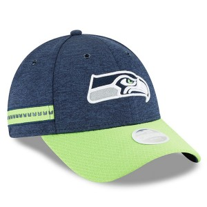 Women's Seattle Seahawks New Era Navy/Neon Green 2018 NFL Sideline Home 9FORTY Adjustable Hat 3059242
