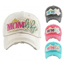 Cute Embroidered Mom Life Adjustable Distressed Ball Cap Hat Kbethos Vintage  eb-58154314