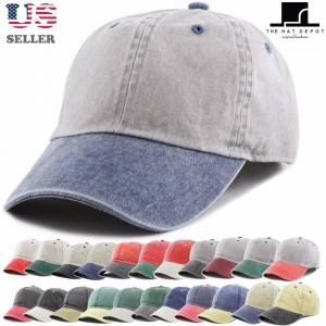 Pigment Dyed Two Tone Low Profile Cotton Six Panel Baseball Cap Hat  eb-35981268