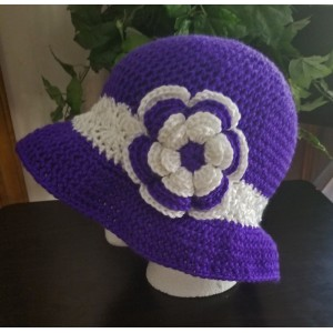 WOMAN'S HANDCROCHETED SUN HAT WITH FLOWERPURPLE WITH WHITENEW  eb-16676490