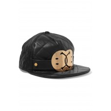 $595 MOSCHINO Couture x Jeremy Scott QUILTED BLACK LEATHER Hat Cap GOLD SMILEY  eb-80506634