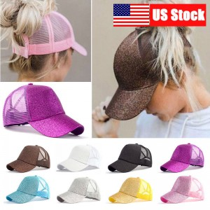 Adjustable Summer  Glitter Ponytail Baseball Cap Messy Bun Snapback Hat US  eb-42915938