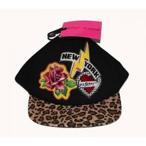 BETSEY JOHNSON Rose NEW YORK Leopard Appliqued Baseball Cap Hat NWT Wms One Size  eb-98069250