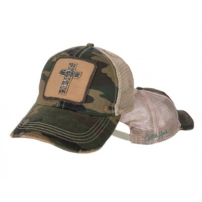 Camo Camouflage Beaded CROSS DISTRESSED SIGNATURE JUDITH MARCH HAT RETRO PATCH  eb-18544346