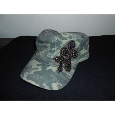 EMBELLISHED BLACK BEADED CROSS MUJER CAMO GREEN CAP HAT NEW FREE SHIPPING  eb-20826285
