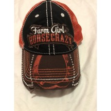 Farm Girl Horse Crazy Trucker Hat Mesh Back Rhinestone Distressed  eb-85429022