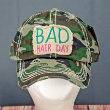 Mujers Bad Hair Day Camouflage  Distress Look One Size Baseball Cap Hat NWT   eb-14454119