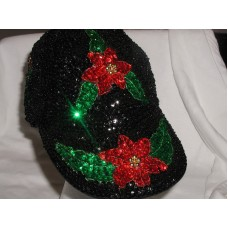 SEQUIN POINSETTIA BASEBALL CAP PRETTY CHRISTMAS HOLIDAY GIFT BLACK & RED NEW   eb-31734898
