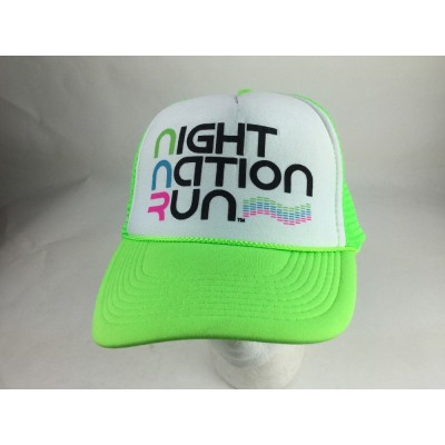Black Night Nation Run Ball Cap with Neon Green and Bill trucker hat   eb-82676438