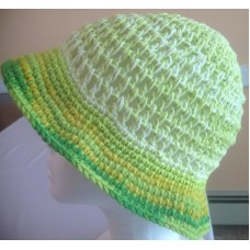 Hamdmade crochet women's multi green color cotton sun hat with brim.  eb-24359569