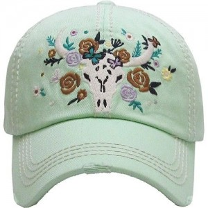 Longhorn Cow Skull Roses Ladies Cap Mint Green Factory Distressed Hat  eb-42461824