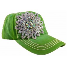 Olive and Pique Super Bling Ball Cap Glass Beaded Flower  Quilted Front  Bright  eb-52834521