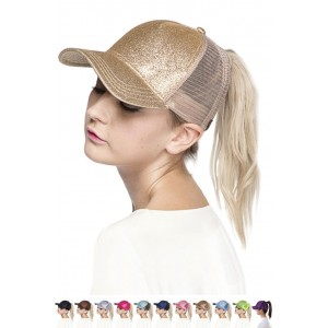 ScarvesMe C.C Glitter Solid Color Ponytail Messy Bun Ponycap Baseball Cap  eb-76112955