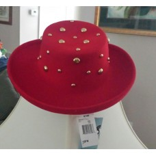Betmar New York 100% Wool Red Gold Beads Church Lady Hat One Size NWT NEW  eb-48859903