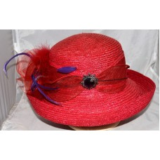 Betmar Red Straw Hat with Purple Pin on Net Bow + Add on Flower & Feathers Sz M  eb-33987048