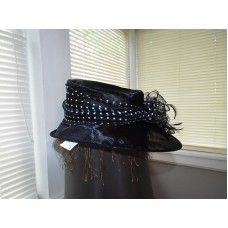 "Black Summer Hat With Poke A Dot 20"" Band  eb-48249720"