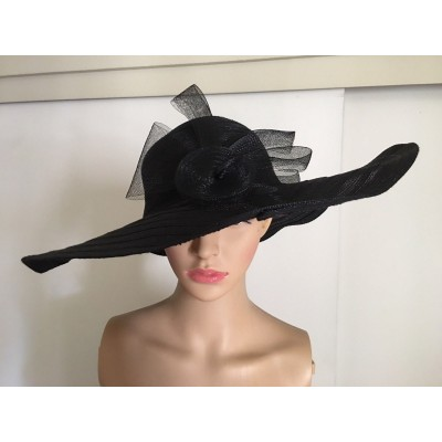 Black church hat bow front   eb-64038296