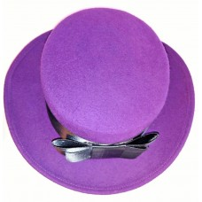 CHURCH DRESS HAT Mujers Fedora Purple With Black Band One Size 100% Wool Felt   eb-75881789