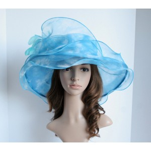 High Quality Church Derby Wedding 3 Layers Organza & Swirl Ascot Hat Blue  eb-03350109