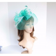 High Quality Kentucky Derby Wedding Polyester Feather Fascinator Turquoise/White  eb-36713349