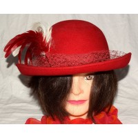 Miss Bierner Michael Howard Red with 2 Feathers & Veil Wool s Hat One Size   eb-51192156