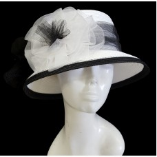 Mujer's Church Kentucky Derby Dress Wedding P.P Braid Summer Hat White/Black  eb-22247543