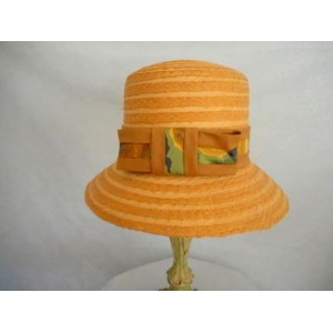 s Small Tan Straw Cloche Fabric Trim Dress Church Hat  eb-35450962