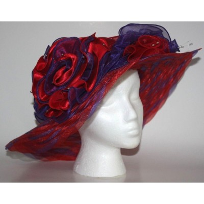s Woven Sheer Floppy RED HAT SOCIETY Sz M  L Purple Red Ruffle Beads EUC  eb-27976492