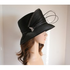 NEW Church Derby Wedding Cloche Satin & Rhinestone & Feather Rods Hat Black  eb-12214319